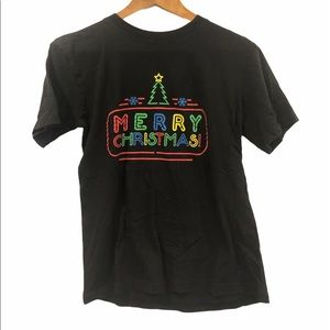 'Merry Christmas' Neon Sign Graphic T-shirt Size M